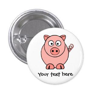 Cerdo rosado pin redondo de 1 pulgada