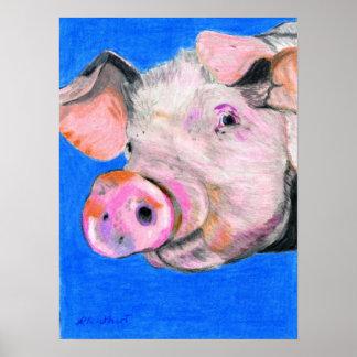 Cerdo rosado póster
