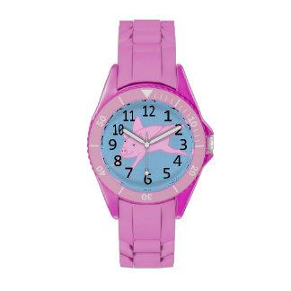 Cerdo rosado que vuela en el azul, numerado reloj