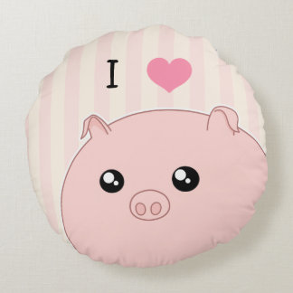 Cerdo rosado rechoncho lindo de Kawaii Cojín Redondo