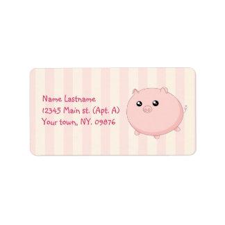 Cerdo rosado rechoncho lindo de Kawaii Etiquetas De Dirección