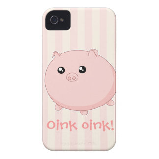 Cerdo rosado rechoncho lindo de Kawaii iPhone 4 Case-Mate Cobertura