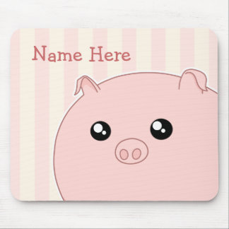 Cerdo rosado rechoncho lindo de Kawaii Alfombrilla De Raton