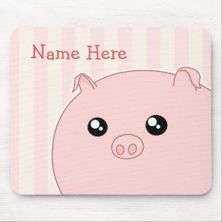Cerdo rosado rechoncho lindo de Kawaii Alfombrillas De Ratón