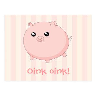 Cerdo rosado rechoncho lindo de Kawaii Postal