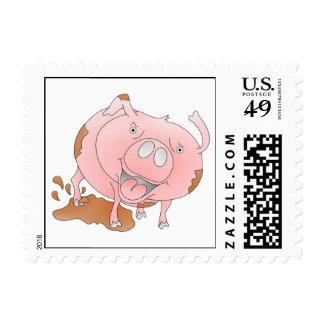 Cerdo rosado sucio timbre postal