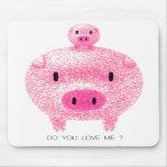 Cerdo rosado tapetes de raton