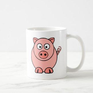 Cerdo rosado taza básica blanca
