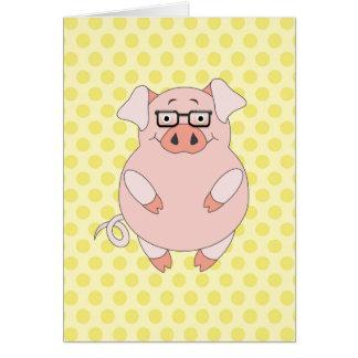 Cerdo rosado y amarillo Polkadots Tarjeta Pequeña