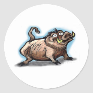 Cerdo salvaje etiqueta redonda