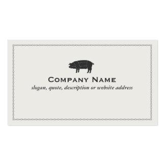 Cerdo seccionado negro del cerdo de la barbacoa tarjetas de visita
