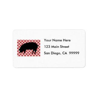 Cerdo Silo en tela a cuadros roja y blanca Etiquetas De Dirección