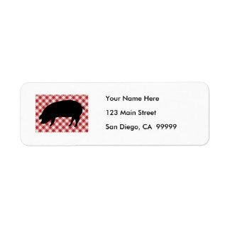 Cerdo Silo en tela a cuadros roja y blanca Etiquetas De Remite