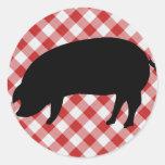 Cerdo Silo en tela a cuadros roja y blanca Pegatinas