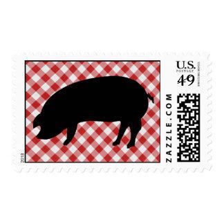 Cerdo Silo en tela a cuadros roja y blanca Sello Postal