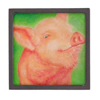 Cerdo sonriente cajas de joyas de calidad