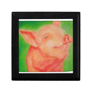 Cerdo sonriente cajas de recuerdo