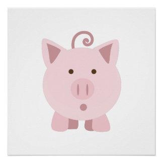Cerdo sorprendido lindo perfect poster