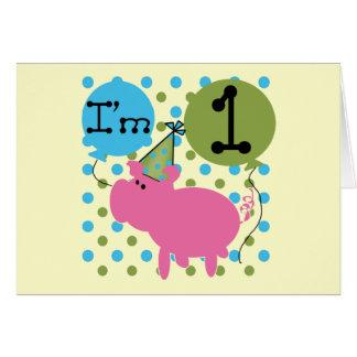 Cerdo soy camisetas y regalos de 1 cumpleaños tarjetón