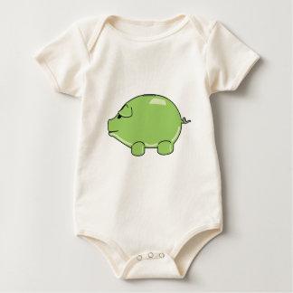 Cerdo verde body para bebé