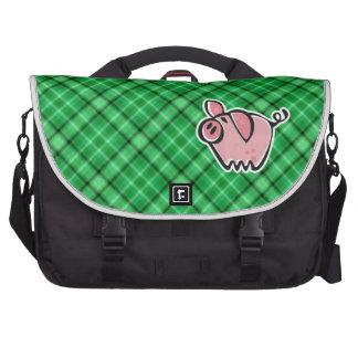 Cerdo verde bolsa para ordenador