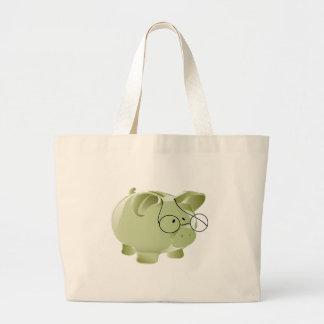 Cerdo verde bolsa tela grande