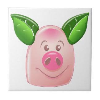 Cerdo verde de la hoja azulejo cuadrado pequeño