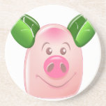Cerdo verde de la hoja posavaso para bebida