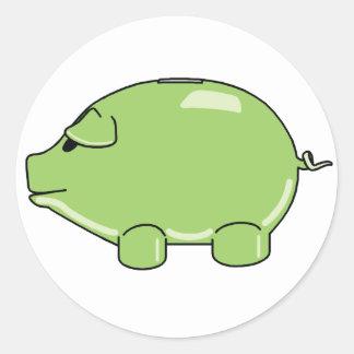Cerdo verde pegatina redonda