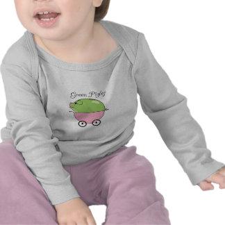Cerdo verde (rosa) Largo-envuelto Camiseta