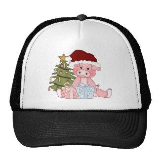 Cerdo y árbol de navidad gorras de camionero