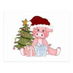 Cerdo y árbol de navidad postal