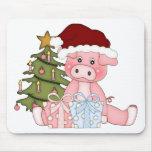 Cerdo y árbol de navidad tapete de ratón