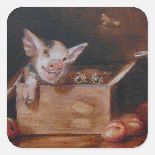 Cerdo y búho para la granja de la familia del pegatina cuadrada