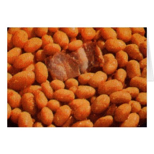 Cerdo y habas retros de la comida del kitsch del tarjeta de felicitación