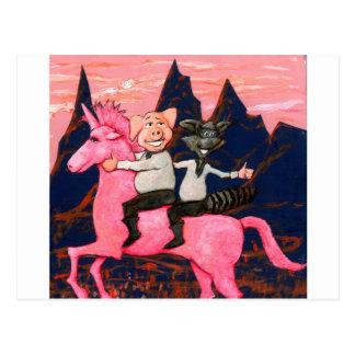 Cerdo y mapache en un icorn rosado de la O.N.U Tarjetas Postales