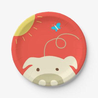 Cerdo y mariposa plato de papel de 7 pulgadas