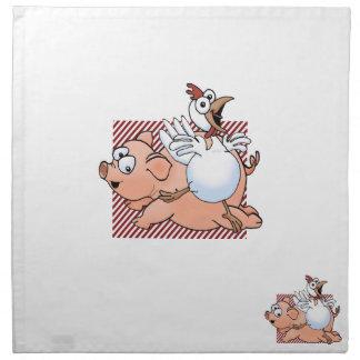 ¡Cerdo y pollo del dibujo animado que saltan con a Servilletas Imprimidas