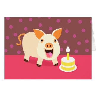 Cerdo y torta del cumpleaños tarjeta de felicitación