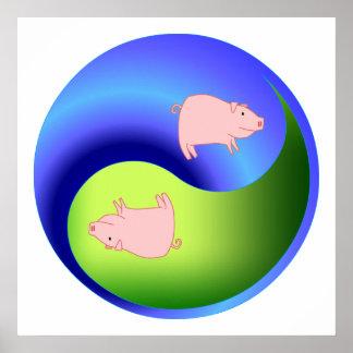 Cerdo Yin Yang Posters
