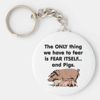 Cerdos 1 del miedo sí mismo llavero redondo tipo pin
