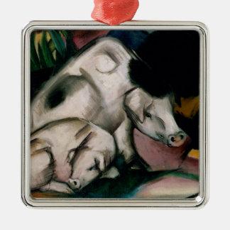 Cerdos, c.1912 (aceite en lona) adorno navideño cuadrado de metal