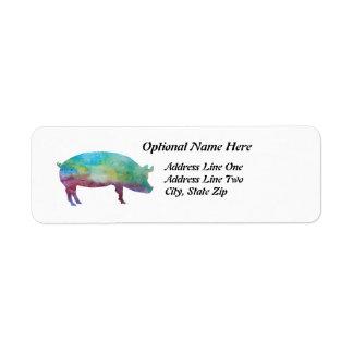 Cerdos Color-lavados brillantes Etiqueta De Remite