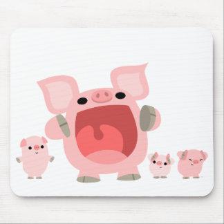 Cerdos de grito Mousepad del dibujo animado:) Tapetes De Raton