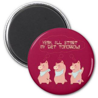 Cerdos de la dieta imán redondo 5 cm