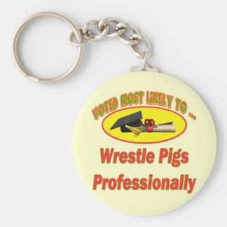 Cerdos de la lucha llavero redondo tipo pin