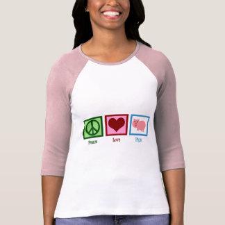 Cerdos del amor de la paz camiseta