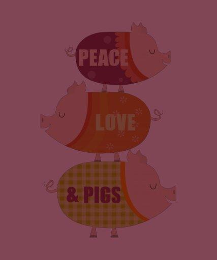 Cerdos del amor de la paz (en pila) camiseta