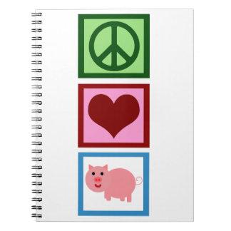 Cerdos del amor de la paz libreta