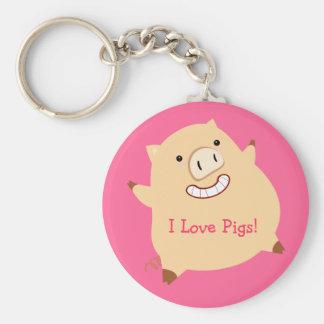 ¡Cerdos del amor! Llavero Redondo Tipo Pin